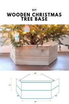 DIY Wooden Christmas Tree Base - This farmhouse style tree stand is the perfect way to add style to your holiday decor this year. You'll be able to hide the unsightly part of your Christmas tree, while adding to the aesthetics of your home.