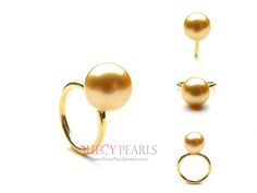 11.0mm-12.0mm Golden Cultured South Sea Pearl Ring AA+ quality - 18k Solid Gold Ring Setting with Diamond Accent
