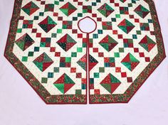 Large 60 inch Tree Skirt Quilt  for Christmas  by QuiltSewPieceful, $175.00