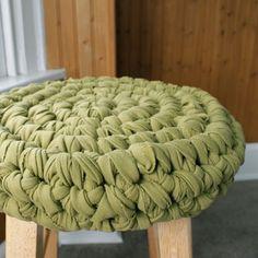 Crochet Stool Fabric Yarn - Tutorial ❥ 4U // hf