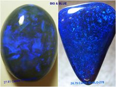 Put some BLUE in your LIFE!!  These 2 Beautiful, BIG BLUE OPALS are both over 20 carats. Blue Gemstone Properties Promote Peace, calm you, it provides relief for people who have trouble sleeping, & it enhances Communication! If you need relaxation in your life these are perfect! www.globalopals.com