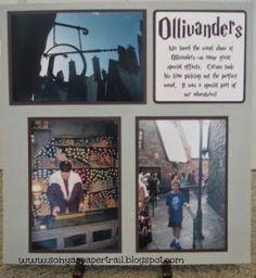 Sonya's Paper Trail: Ollivanders - A Wizarding World of Harry Potter Scrapbook… Vacation Scrapbook, Disney Scrapbook Pages, My Scrapbook, Scrapbooking Layouts, Harry Potter Scrapbook, Paper Trail, Florida Vacation, Legoland, Universal Studios
