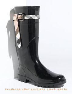 NIB #BURBERRY Kenyon Nova Check Belt Tall Rain Boot Black EU 40/US 10 NEW IN BOX -- hot #rainboots! Behlor