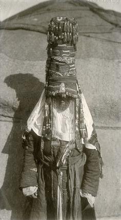 Vintage portrait of a woman from Kazakhstan.
