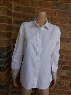 VINEYARD VINES Women Shirt Size 12 Contrast Sleeve Blouse Top Pink/White Striped #vineyardvines #Blouse #Casual