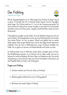 """Worksheet: reading text about spring (with 3 questions) Related posts: """"My Christmas holidays"""" head-reading and reading jobs Learn German, Learn French, Reading Jobs, Deutsch Language, German Language Learning, German Words, French Lessons, Spanish Lessons, Education And Training"""