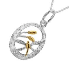 Sterling Silver Jewellery UK: Sterling Silver Dragonfly and Bulrush Pendant