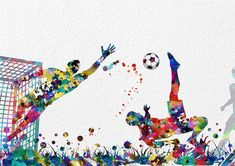 Soccer Watercolor Print Football match archival by MimiPrints