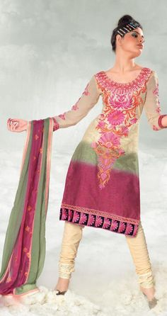 Green And Fuchsia And Orange Cotton Salwar Kameez 15399