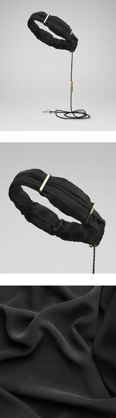 Twine Silk Black & Gold by Molami, silk-satin and chiffon headphones