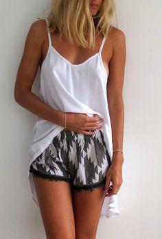 Pom Pom / Tassel Shorts - Grey & White Chevron Print with Grey Tassel Trim- Gym/Beach Shorts
