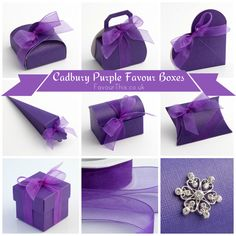 Cadbury Purple Wedding Favours. ►► http://www.favourthis.co.uk/tag/cadbury-purple-favour-boxes/ #favours #favourboxes #purplewedding