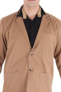 FIFTY TWO Solid Single Breasted Casual Men's Blazer - Buy Brown4 FIFTY TWO Solid…