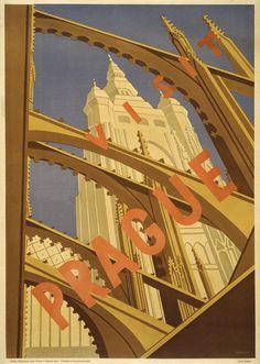 Visit Prague. Vintage travel poster showing Prague's St. Vitus Cathedral as seen through flying buttresses. Prague, Czechoslovakia (now Czech Republic), circa 1930s.