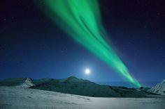 Moonrise Over Northern Lights, Alaska (Ben Hattenbach/Los Angeles, California)