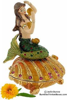 Trinket Box: Mermaid On Orange Shell
