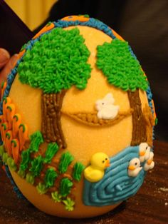 Backside of a sugar egg decorated by Rachel Dayton 2011. She just drew what her children requested :) ThisLife