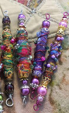 Handmade Fabric Beads Fiber Art Beads Textile Art Beads Boho Beads Artisan Beads Focal Beads Beading supplies