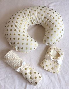 Ivory and Gold Polkadot Gift Set by PickleBeeDesigns on Etsy, $58.00