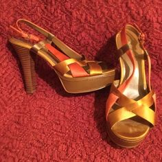Nine West Strappy Satin Platform Heel 7.5 Worn 2hr Worn for about 2 hours for an event. Only indication of use on satin under toes. And that is very minimal & either way cant be seen when on. Otherwise immaculate, like new condition. Approx 1' leather covered platform, with 4' stacked wood heel. Gorgeous shoes, i just really dont wear heels unless its law. I have TONS more high end & designer items to list so please check out rest of my stuff! The more you buy, the better the deal! Thanks…