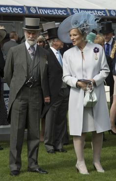Princess Michael of Kent looked elegant at the races in a minimalist, co-ordinated coat and shift dress.