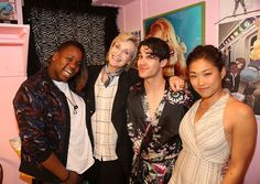 Alex Newell, Jane Lynch, Darren Criss and Jenna Ushkowitz (all costars on the TV show 'GLEE') pose backstage at the hit musical 'Hedwig and The Angry Inch' on Broadway at The Belasco Theater on June 10, 2015 in New York City.