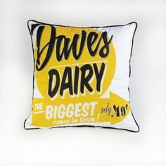 Daves Dairy Cushion By Dustys Clever Design, Dairy, Cushions, Throw Pillows, Interior Ideas, Room, Bedroom, Toss Pillows, Toss Pillows