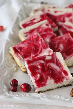 Skinny Cranberry Swirl Cheesecake Squares