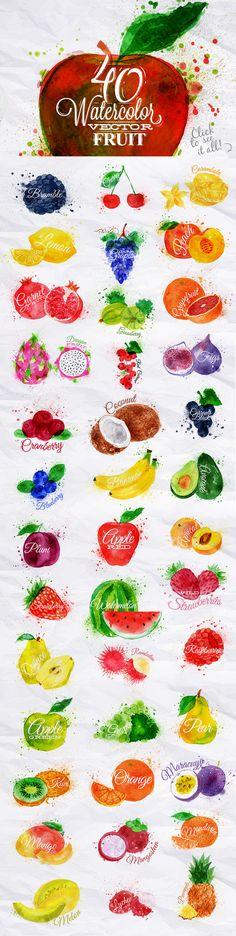 Fruit Watercolor by Anna on Creative Market (food art painting) Fruit Illustration, Food Illustrations, Watercolor Illustration, Funny Illustration, Watercolor Food, Watercolour Painting, Watercolors, New Fruit, Fruit Fruit