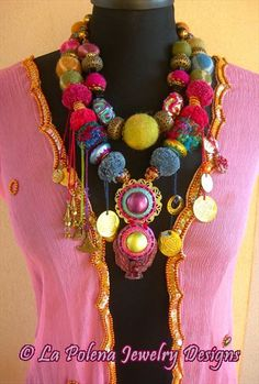 TRIBAL GYPSY beaded felt and Colorful beads and Charms La Polena Jewelry Designs Ethnic Tribal and Bohemian. €388.00, via Etsy.