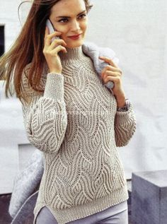 Пуловер рельефным узором Размеры: 38/40 (42/44) 46/48 http://shemyvyazaniya.com/page/pulover-relefnym-uzorom-2