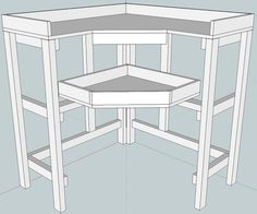 Draft for jeweler's bench | Flickr CByrmes  This is a great blue print for me to build a nice little corner jewelers bench for myself. I like how this is in the corner there for surrounding you as you sit at it...and it uses up the valuable corner space. Nice!