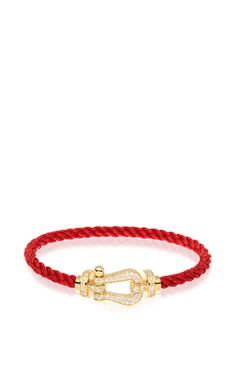 Interchangeable Red Cable With Yellow Gold And A Yellow Gold Paved With White Diamonds Buckle by FRED for Preorder on Moda Operandi