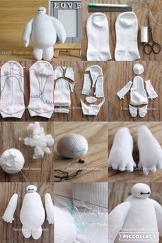 DIY Baymax - Best Picture For Stuffed Animals wallpaper For Your Taste You are looking for something, and it is going to tell you exactly what you are looking for, and you di Sock Crafts, Cute Crafts, Felt Crafts, Fabric Crafts, Sewing Toys, Sewing Crafts, Sewing Projects, Diy Projects, Diy Crafts Hacks