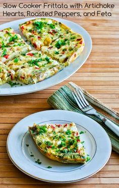 Slow Cooker Frittata with Artichoke Hearts, Roasted Peppers, and Feta from Kalyn's Kitchen; this is easy and delicious for a #LowCarb breakfast. [Featured on SlowCookerFromScratch.com]