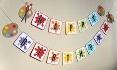 Happy Birthday Banner for Art or Paint Birthday Party Theme - Party Decor - Photo Prop - Paint Party - Birthday Diy Birthday Banner, Happy Birthday Banners, Diy Banner, Birthday Party Decorations, Birthday Ideas, Birthday Crafts, Birthday Quotes, 50th Birthday, Art Party Foods