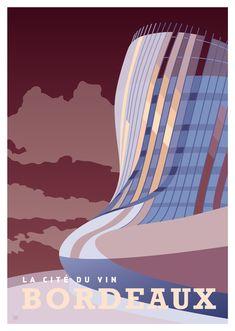 AFFICHE VILLE DE BORDEAUX - La Cité du Vin Disney Illustration, Illustrations, Vintage Travel Posters, Vintage Postcards, Bordeaux France, Wine Tourism, Tourism Poster, Graphic Design Posters, Poster Designs