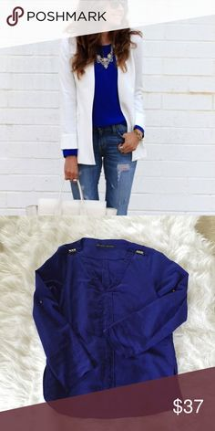 Zara Royal Blue Blouse Gorgeous royal blue blouse from Zara basics line with stud detailing on both shoulders. In good worn condition. The first picture isn't the actual blouse, but shows you how to style it. No trades! Bundle and save 30%! Zara Tops Blouses