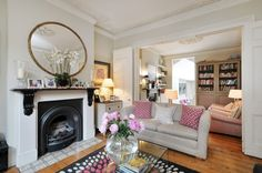 The living room makes the most of all the property's beautiful period features Victorian Living Room, Boho Living Room, Small Living Rooms, Living Room Kitchen, Living Room Designs, Living Room Decor, Living Spaces, Dining Room, Living Area
