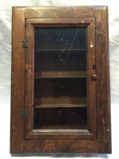 Vintage medicine cabinet wood shelf bath vanity storage w/ glass door