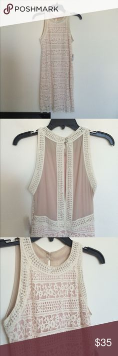 Urban outfitters ivory lace bodycon dress Perfect condition, never worn. Ivory lace with pink layer underneath. Size M. Urban Outfitters Dresses