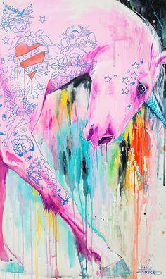 Cool Art: Gallery1988 presents Audrey Pongracz & Lora Zombie Art Show: 'Mr Unicorn' by Lora Zombie