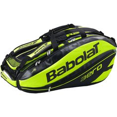 The Babolat 2015 Pure Aero 12 Pack Tennis Bag is endorsed and used by Rafael Nadal. The 2015 Pure Aero 12 Pack Tennis Bag features the latest high-tech innovation, and holds up to 12 racquets. Features a shell structure with a carbon-like effect to protect the racquets at all times. It includes two insulated compartments to protect racquets from the heat, and help them maintain string tension in all weather conditions.