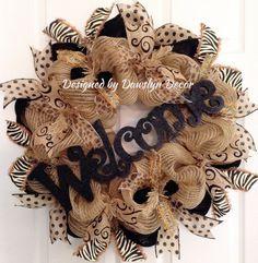 (I really like this!) Burlap Wreath Deco Mesh Wreath Welcome Wreath by DawslynDecor