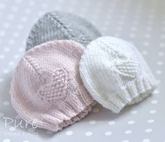 Knit this precious 4 Ply preemie and newborn baby hat to keep little ones warm. This simple little moss stitch heart baby hat is very easy and very quick to knit. the perfect project for a new knitter. The hats in these photos have been knitted in Rowan' Baby Knitting Patterns, Baby Hat Patterns, Baby Hats Knitting, Knitting For Kids, Easy Knitting, Knitting Projects, Knitted Hats, Crochet Patterns, Easy Patterns