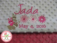 Custom designed personalized baby blankets and other baby products at www.sun7designs.com