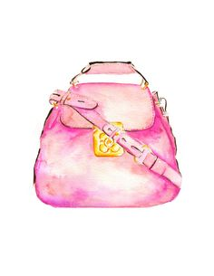 """LINE BOTWIN """"Girly illustrations# #chic #fashion #girly #illustration  Fashion illustration Chloe Handbag watercolor Art by KomaArt"""