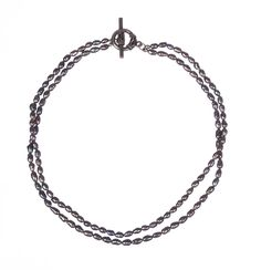 Grey Freshwater Pearl Double Strand Necklace.