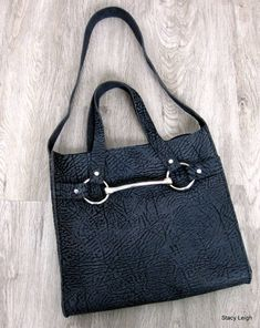 Equestrian Horse Bit Tote Bag in Bull Hide Leather by Stacy Leigh Horse Fabric, Horse Bits, Dark Blue Jeans, Shoulder Strap, Shoulder Bags, Leather Handbags, Equestrian, Bag Accessories, Brown Leather