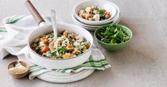 Try this Pumpkin and Goats Cheese Risotto recipe, using pantry staples to simply transform your leftover pumpkin into a delicious, warm weeknight dinner. Goats Cheese Risotto, Goat Cheese, Carnation Milk Recipes, Cooking Tips, Cooking Recipes, Rice Dishes, Dinner Recipes, Pumpkin, Yummy Food